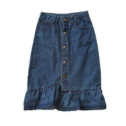 Vintage Frilled Hem Long Denim Skirt