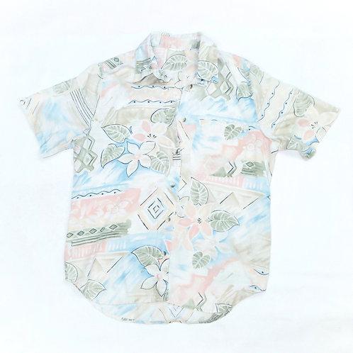 Vintage Pastel Cream Retro Floral Print Shirt