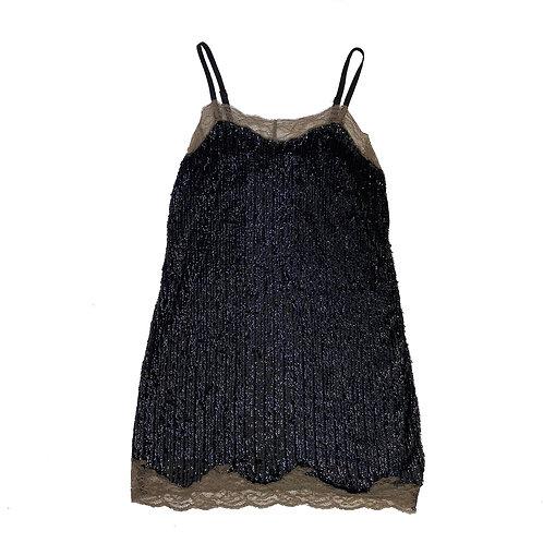 Vintage Lace Lined Sequin Black Shift Dress