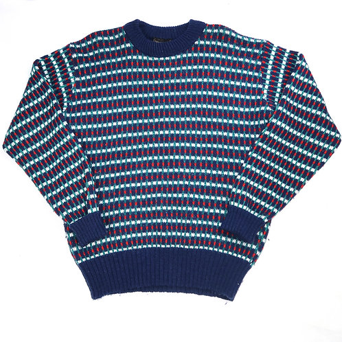 Vintage Thick Navy Pattern Knit Jumper