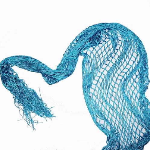 Turquoise Glittery Fishnet Tassle Scarf