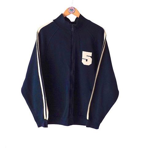 Vintage Retro Navy Zip Up Baseball Jacket