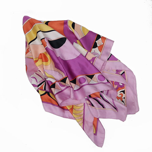 Gorgeous Abstract Brightly Coloured Silk Wrap Headscarf
