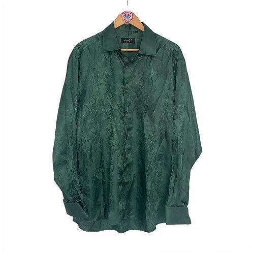 Emerald Green Silky Satin Paisley Shirt