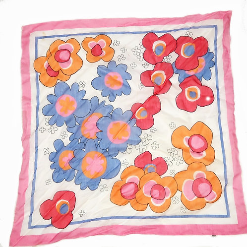 Vintage Colourful Floral White Headscarf