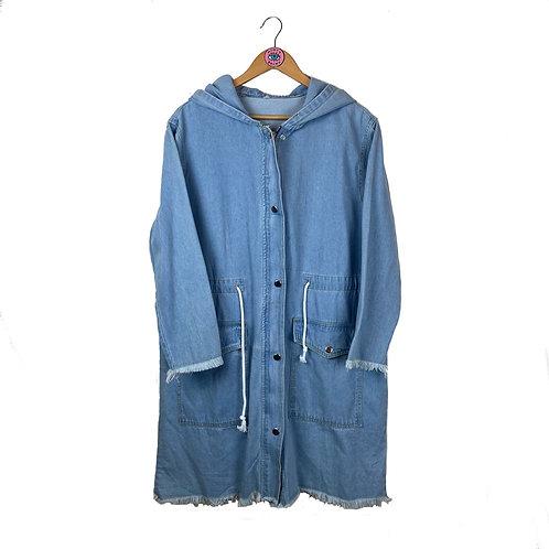 Light Wash Denim Frayed Zip Up Jacket
