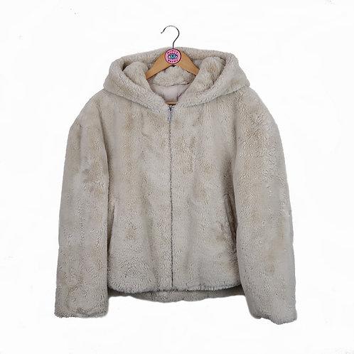 Beige Faux Fur Zip Up Hooded Jacket