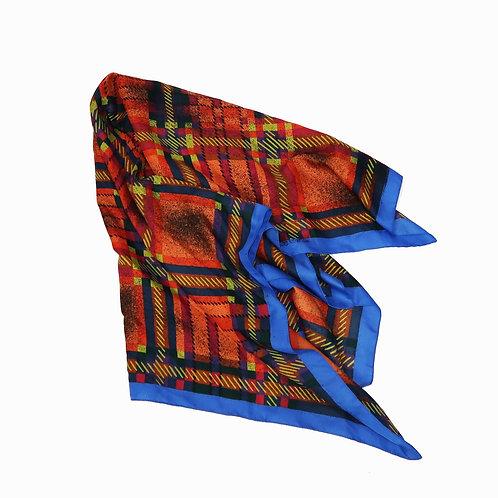 Orange & Blue Checkered Silk Scarf