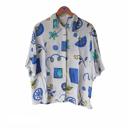 Vintage White & Blue Abstract Print Blouse