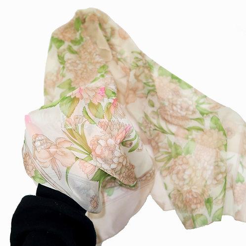 Chiffon Neutral Floral Scarf