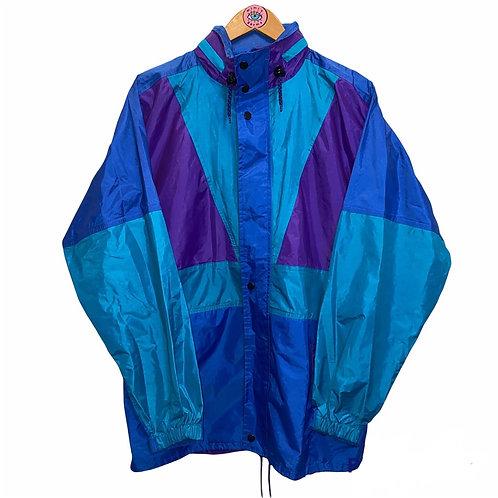 Vintage Retro Colorblock Blue Zip Up Anorak