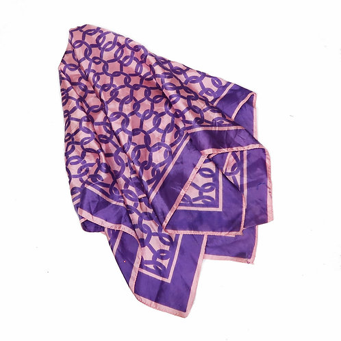 Pink & Purpoe Silk Chain Print Scarf