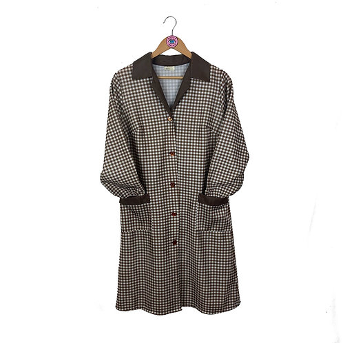 Vintage Brown Retro Checkered Long Jacket