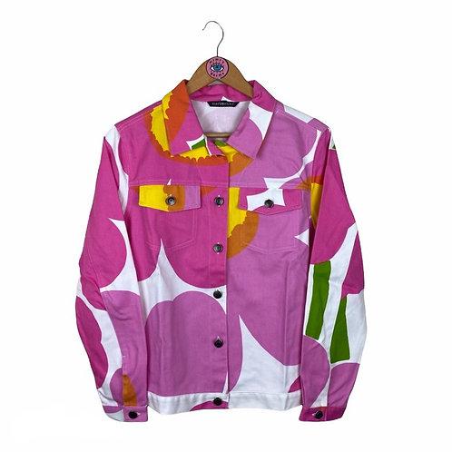 Rare Pink Colourful Bold Print Denim Jacket