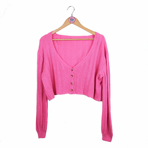 Oversized Hot Pink Cropped Cardigan