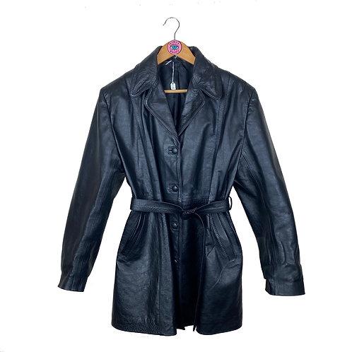 Vintage Tie Waist Leather Coat