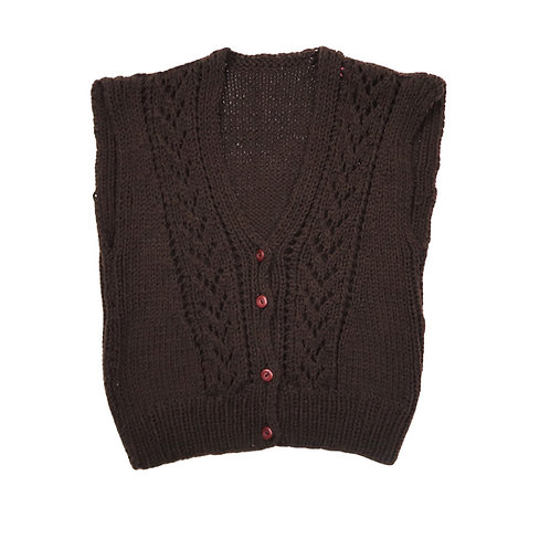 Vintage Brown Knit Button Up Sweater Vest