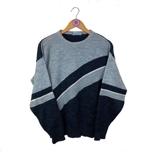 Vintage Grey Panelled Knit Jumper