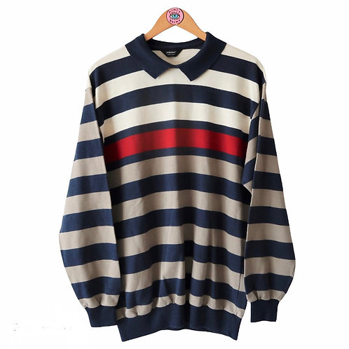 Vintage Striped Polo Collar Sweater