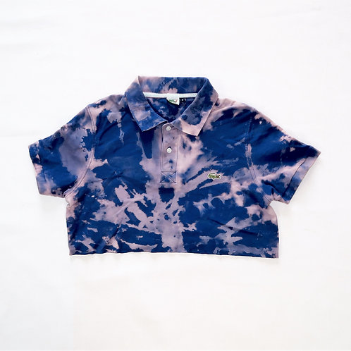 Reworked Blue Lacoste Cropped Polo
