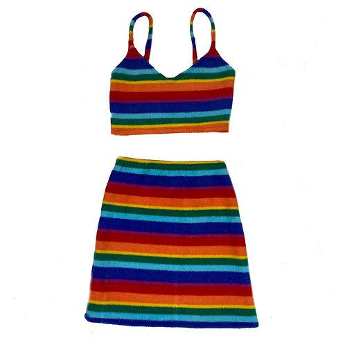 Handmade Upcycled Rainbow Two Piece