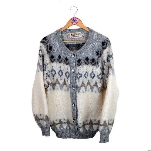 Vintage Retro Fair Isle Icelandic Style Wool Cardigan