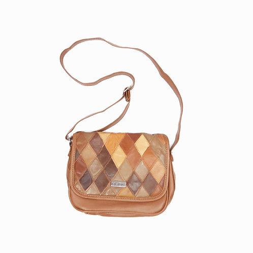 Vintage Brown Checkered Faux Leather Mini Handbag