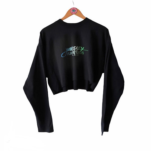 Reworked Cropped Navy Long Sleeve Logo Tee