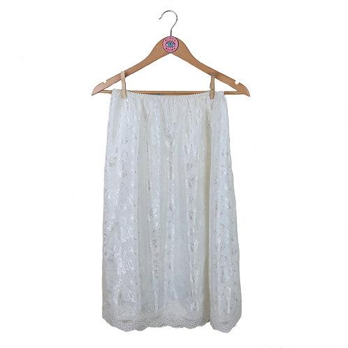 Vintage White Silky Floral Lace Hem Skirt