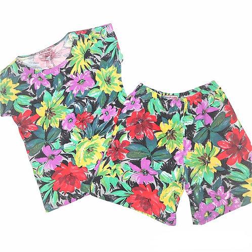 Vintage Retro Multi Colour Floral Two Piece