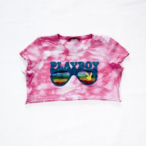 Reworked Vintage Pink Playboy Crop Tee