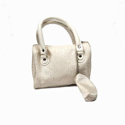 Vintage Mini  Cream Monogram Handbag With Coin Purse
