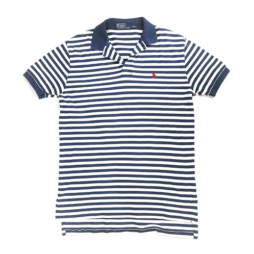 Vintage Navy And White Striped Ralph Lauren Polo