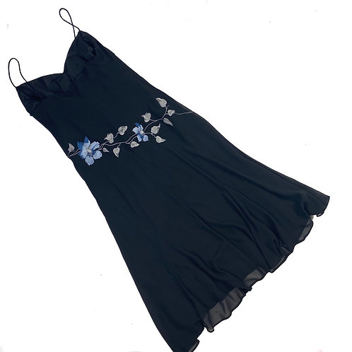 Vintage Black Flower Embroidered Dress