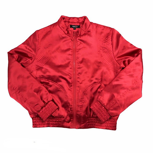 Vintage 80s Style Silky Red Bomber