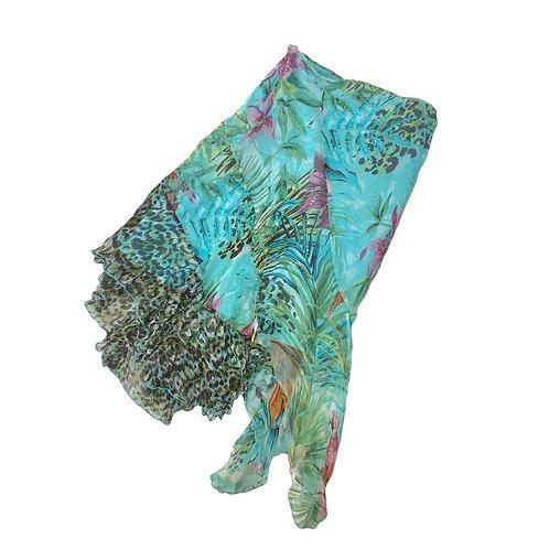 Turquoise Dipped Hem Y2K Mid Length Skirt
