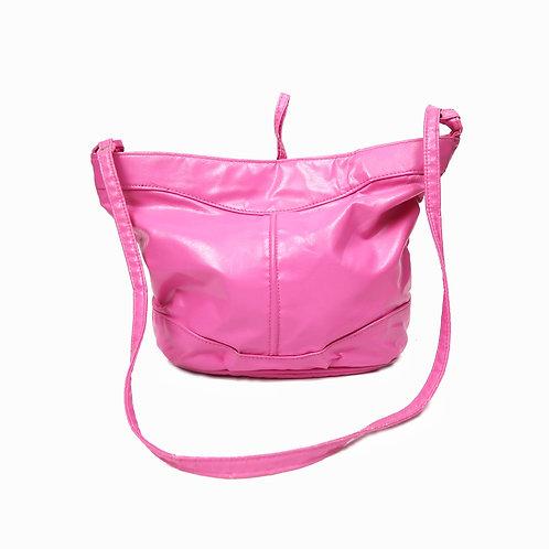 Faux Leather Bright Pink Handbag