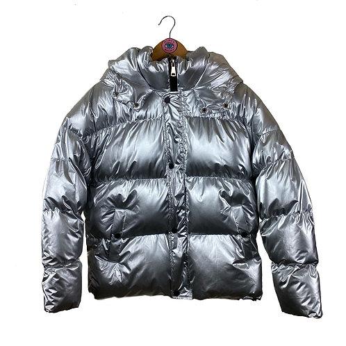 Silver Metallic Hooded Spacegirl Puffa Coat