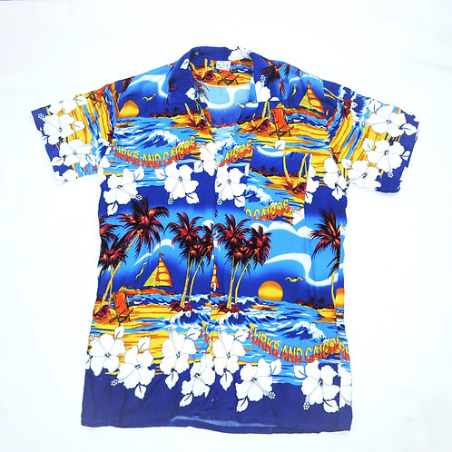 Vintage Blue Hawaiian Print Summer Shirt