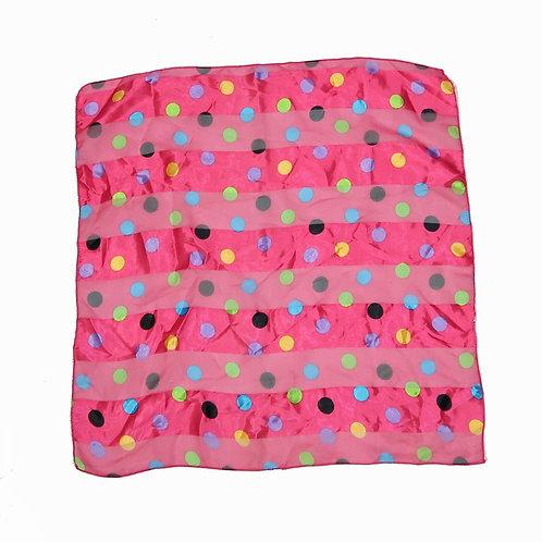 Silk Pink Polka Dot Bandana