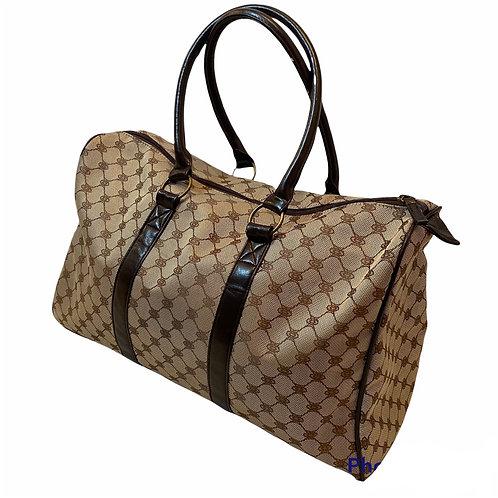 Tan Monogram Print Large Handbag