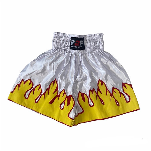 White Flame Embroidered Boxing Shorts