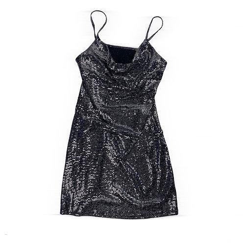 Black Shiny Cowl Neck Slip Dress