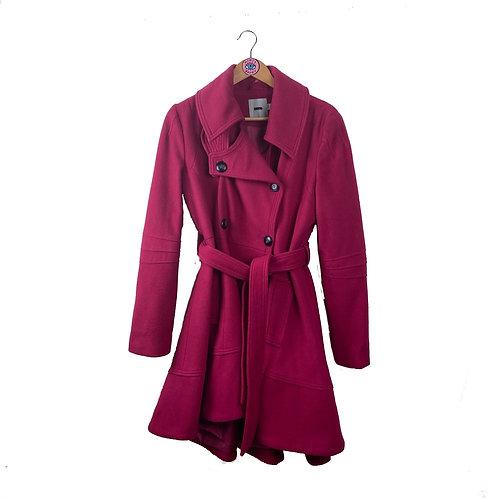Hot Pink Tie Waist Pea Coat