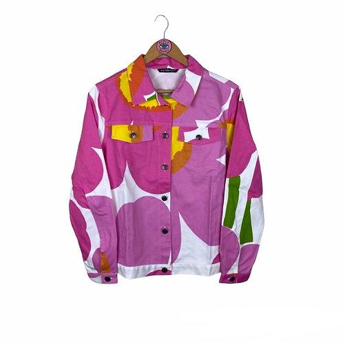 Rare Pink Bold Print Denim Jacket