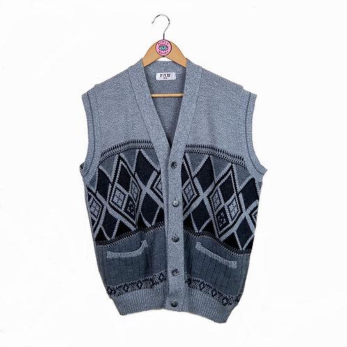 Vintage Grey Oversized Button Up Sweater Vest