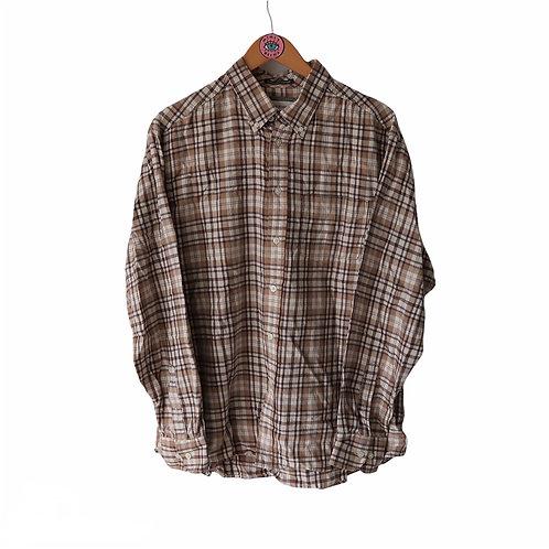 Vintage Beige Checkered Flannel Shirt