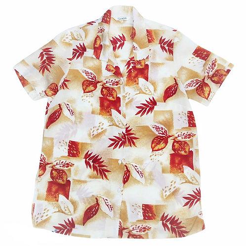 Vintage Retro Autumnal Beige Red Pattern Shirt