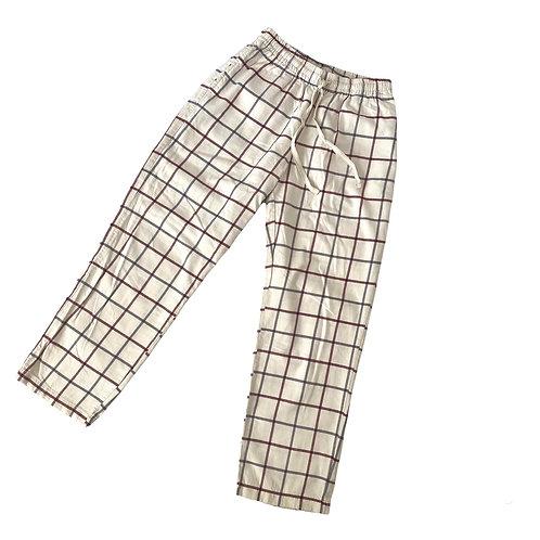 Beige Checkered Tie Waist Trousers