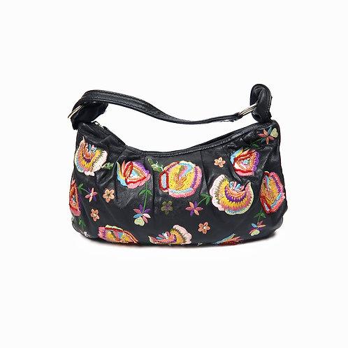 Vintage Faux Leather Floral Embroidered Handbag